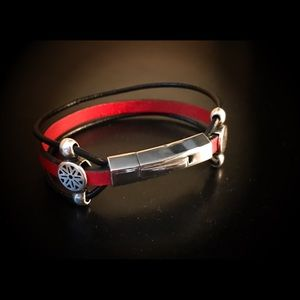 Leather Sterling & Rhodium cuff.  Artisan only 1